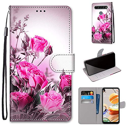 GARITANE Funda para LG K8 2018/K9,Cartera Cuero con Iman Cierre Tarjetero Libro Bumper Shell Cover Carcasa Flip Case (Rosa)
