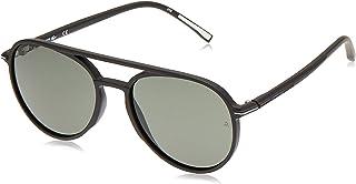 نظارات شمسية للرجال باطار اسود غير لامع من لاكوست بتصميم رياضي على شكل نظارات الطيار