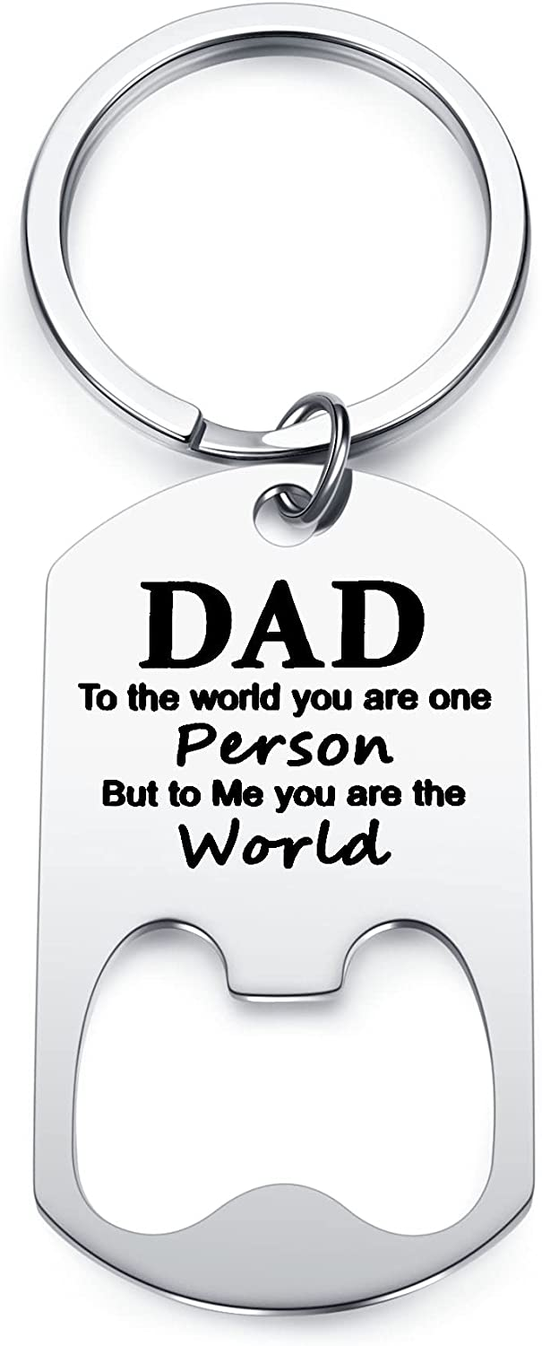 Memolome Personalized Keychain For Dad from Son and Daughter Custom Text Free Engraving Bottle Opener Keyring For Step Dad Husband Stainless Steel Memorial Keychain Father's Day Birthday Christmas Gift