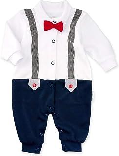 Baby Sweets Baby Sweets Strampler weiß blau | Motiv: Little Gentleman | Festliches Baby Outfit für Neugeborene & Kleinkinder | Größe: 3-6 Monate 68