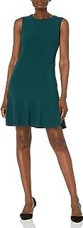 Women's Sleeveless Crew Neck Ruffle Hem Shift Dress