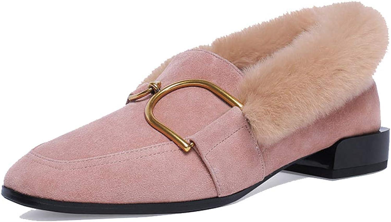 DANDANJIE damen schuhe Winter Low Heel Moccasins Damen Low-Top Faux Plush Loafer Für Outdoor