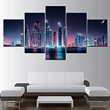 HD Print Night Modular Dubai Skyline Painting Home Decor 5 Panel Wall Art Picture Canvas Modern Poster Living Room Frame