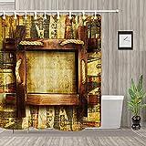 WENHUI Boiseries et Pictogramme Rideau de Douche de Salle de Bain Tissu Durable moisissure Accessoires de Salle de Bain créatif avec 12 Crochets 180X180 CM