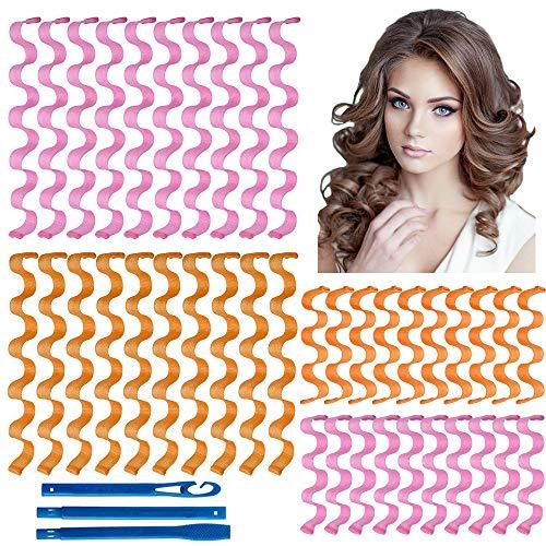 YMHPRIDE 40 Stück DIY Lockenwickler Styling Kit Keine Hitze Spiral Locken Magic Long Hair Rollers mit Styling Haken Heatless Wave Style Lockenwickler für Frauen (50cm und 30cm)