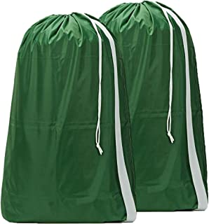 HOMEST 2 Pack XL Nylon Laundry Bag with Strap, Machine Washable Large Dirty Clothes Organizer, Easy Fit a Laundry Hamper or Basket, Can Carry Up to 4 Loads of Laundry, Dark Green, Patent Pending