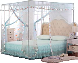 JQWUPUP Luxury Mosquito Net Bed Canopy 4 Corner Poster Princess Lace Netting Bedding for Girls, Toddlers & Adults - Bedroo...