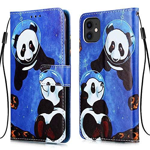 MUTOUREN Funda compatible con Huawei P40 Pro Wallet Case con protector de pantalla gratuito, piel sintética, soporte para tarjetas, diseño de panda de buceo