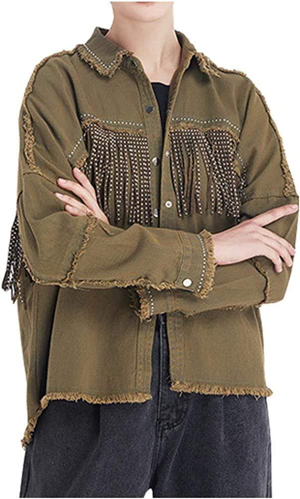 Kedera Women's Jean Jacket Long Sleeve Distressed Fray Hem Tassels Denim Trucker Jackets