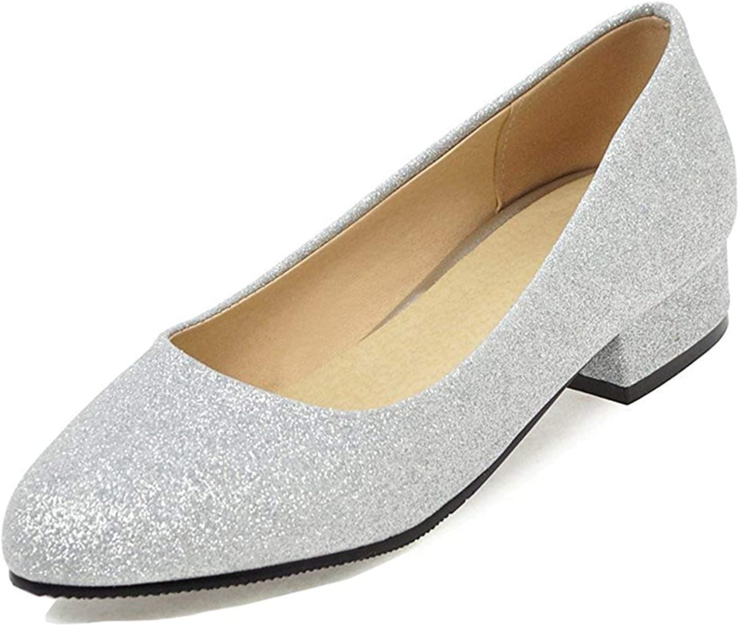 Unm Women's Pointy Toe Pumps - Glitter Sequined Block shoes - Comfort Low Cut Low Heels