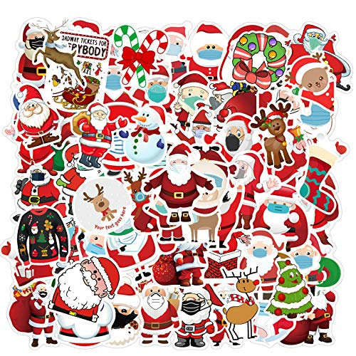 Christmas Stickers 100 pcs Merry Christmas Santa Stickers Vinyl Waterproof Stickers for Kids Teens Adults Water Bottle Car Laptop Skateboard Christmas Party Decorations Supplies