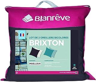 blanrêve Lot de 2 oreillers Moelleux Bicolores en Microfibre Brixton 60x60cm