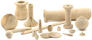 Hygloss Products, Inc Unfinished Wood Turnings, 1 lb, Natural
