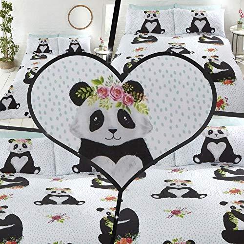 Bedding Heaven Cute PANDAS Duvet Cover Set Pandas and Flowers on a dotty cover. (SINGLE)