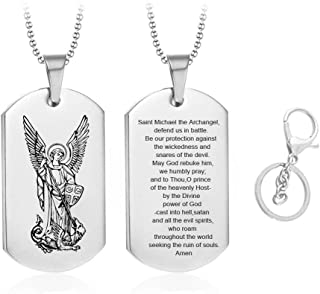 LF Stainless Steel St Michael Necklace Keychain God Prayers Saint Michael Necklace Dog Tag Praying Pendant St. Michael The Archangel Necklaces Jewelry for Men for Boyfriend,Dad,Husband,Son Gift