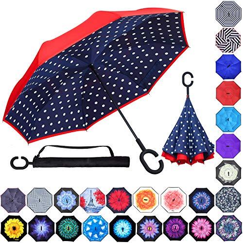 Double Layer Inverted Umbrellas Reverse Folding Umbrella Windproof UV Protection Big Straight Umbrella Inside Out Upside...