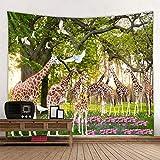 Giraffe Tapisserie Glühende psychedelische Wandbehang Waldgiraffe Tapisserie Boho Home Decor Kunst Wandtuch Stoff 150x200cm
