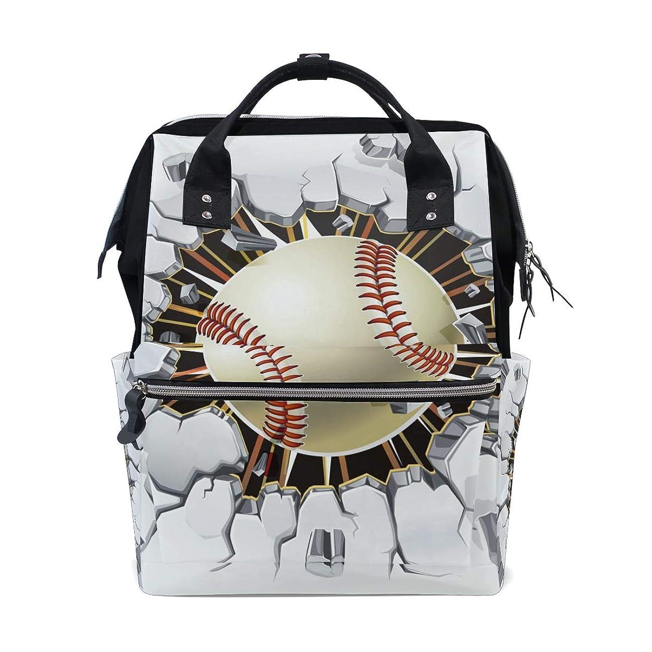 Baseball Broken Wall School Backpack Large Capacity Mummy Bags Laptop Handbag Casual Travel Rucksack Satchel For Women Men Adult Teen Children