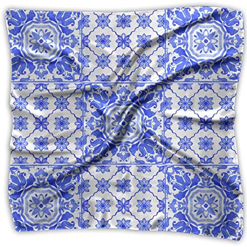 Square Satin Scarf Portuguese Azulejo Tiles Blue White Silk Like Lightweight Bandanas Head Wrap Neck Shawl Headscarf