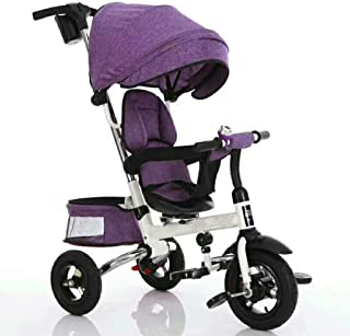 Strollers Baby Folding Kids Ride-on Tricycle for Children with Sun Canopy, with 360° Rotating and Reclining Seat (Color : Purple)
