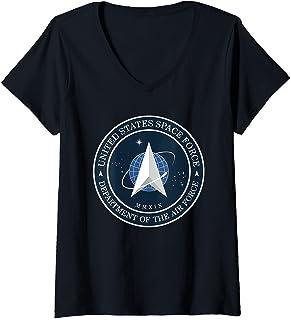 Femme Logo Space Force T-Shirt avec Col en V