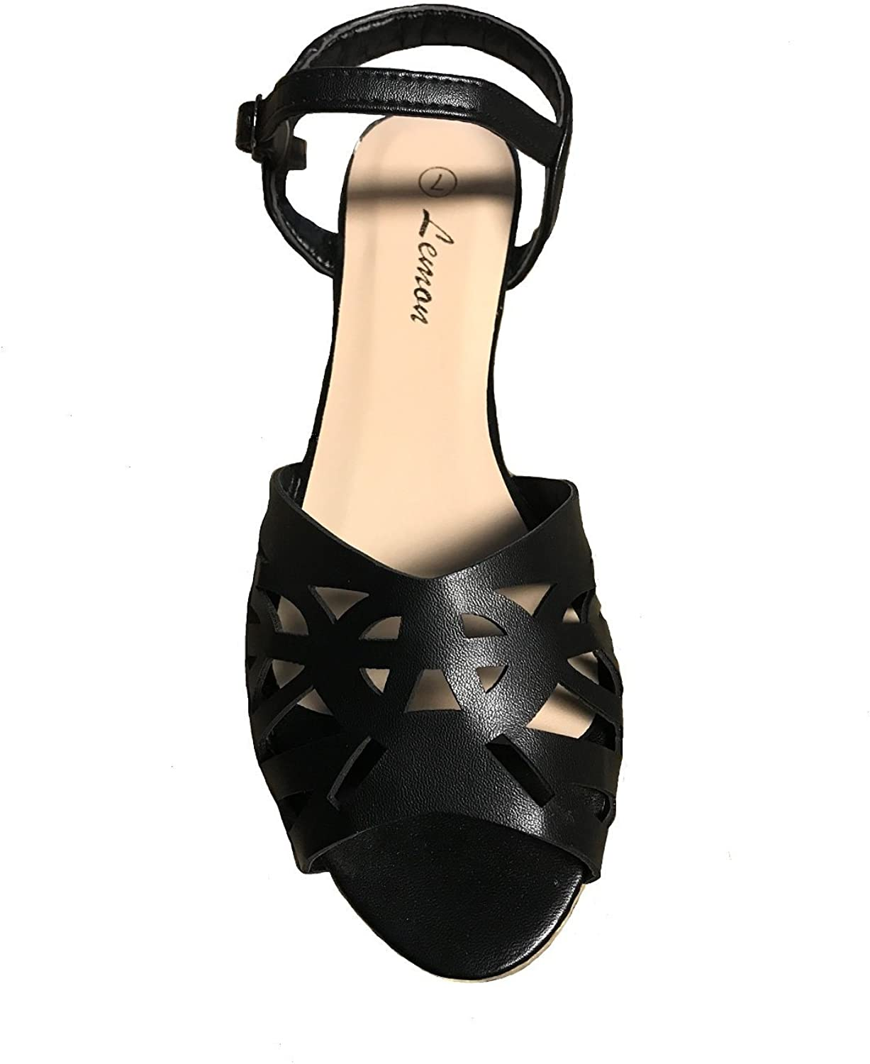 Lemon Lemon Black Faux Leather Ankle Strap Sandals shoes