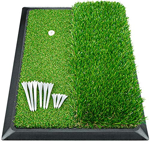 Golf Mat, Indoor Golf Hitting Mat - Heavy Duty Rubber Base Golf Putting Green, Mini Golf Practice Training Aid with 9 Golf Tees, Dual Premium Turfs, Golf Accessories Golf Gift for Men