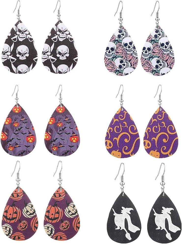 Halloween Earrings Teardrop Faux Leather Dangle Earrings Lightweight Halloween Costume Party Holiday Night Pumpkin Skull Jewelry for Women Girls