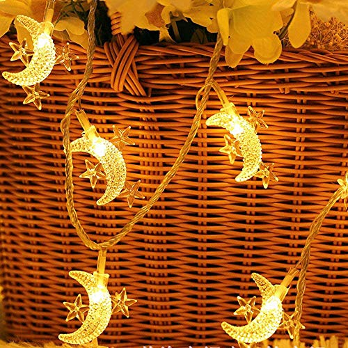 MOWIN Moon Star Fairy Lights, 20ft 40 LED Battery Operated String Lights Decorative Lighting for Bedroom Ramadan Christmas Wedding Birthday Party Indoor Outdoor Decoration (Warm White)