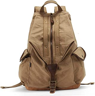 Canvas High-Capacity Sports Knapsack Tour Computer Backpack Leisure Travel Fashion Trend Men and Women Knapsack (Color : Khaki, Size : 30 * 20 * 40cm)