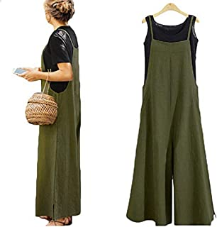 Simayixx Women Casual Linen Loose Bib Pants Wide Leg Jumpsuits Rompers Overalls with Pockets Cropped Pants