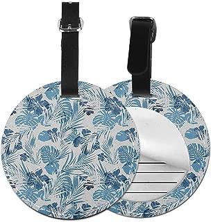 Small round luggage tag Leaf Fashion match Island Ocean Beach Sea Inspired Hawaiian Flowers Palm Tree Leaves Art Print,Diameter3.7