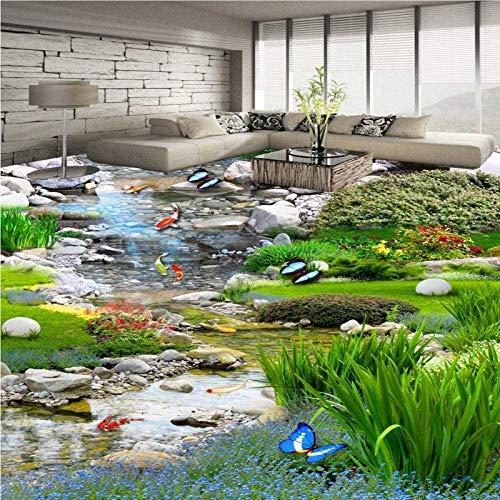 Personalizado jardín paisaje pradera agua carpa 3D estéreo pintura de suelo centro comercial papel tapiz autoadhesivo mural 350x250cm