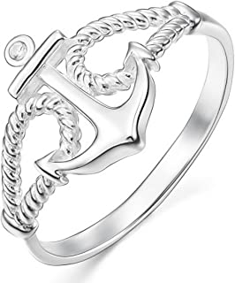 Women's 925 Sterling Silver 13mm Ring CZ Silver Tone Rope Anchor Nautical