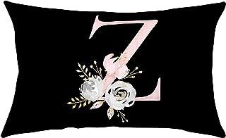 Alfabeto inglés Funda de Almohada de Flores Funda de Almohada de Tiro Negro Pegatina de Letras y decoración de Plumas de Hojas de Flores Funda de Almohada Funda de cojín