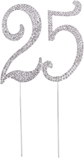 OULII Birthday Number Cake Topper Anniversary Crystal Rhinestones Decorative Cupcake Topper for 25th Birthday Party Supplies (25)