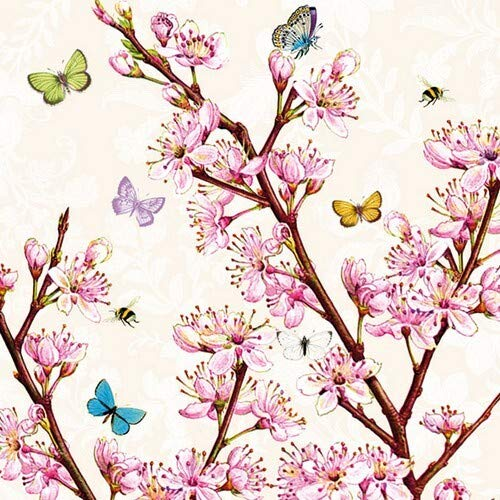 20 Servietten Bienen und Schmetterlinge an Blüten als Tischdeko für den Frühling 33x33cm