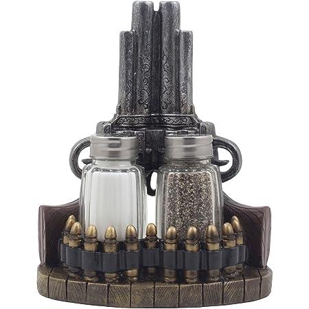 CERAMIC SHOTGUN SHELL SALT PEPPER SET KITCHEN LODGE HOME DECOR #22963