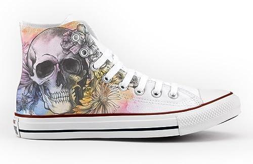 Converse Personalizados e impresos - schuhe de artesanía skull and flowers