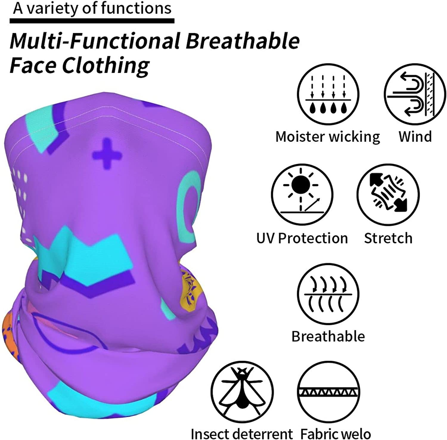 80s Style for Geometric Neck Gaiter Multipurpose Headwear Ice Silk Mask Scarf Summer Cool Breathable Outdoor Sport 2 Pcs