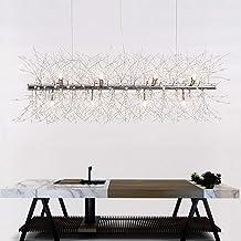 Nordic LED Smeedijzeren Eenvoudige woonkamer Restaurant Bar Crystal Beaded Verstelbare Kroonluchter (Kleur: Zilver)