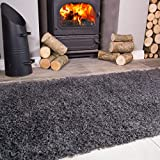 Ontario Grey Fireside Fireplace Mantelpiece Hearth Shaggy Shag Fluffy Living Room Area Rug