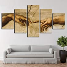 SHUII Canvas Pictures Modular Wall Art 5 Pieces Creation of Adam Hand of god Abstract Painting HD Print Decor Living Room Framework Framed 30x40cm 30x60cm 30x80cm
