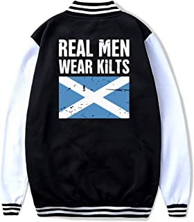 Scottish Flag Real Men Wear Kilts Teenage Fashion Baseball Uniform Jacket Boy & Girl Sport Coat