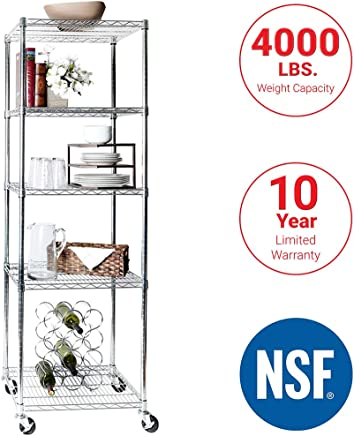 """Seville Classics UltraDurable Commercial-Grade 5-Tier NSF-Certified Steel Wire Shelving with Wheels 24"""" W x 18"""" D x 72"""" H"""