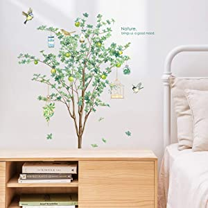 Supzone Tree Birds Wall Decals Green Leaves Wall Stickers Birdcage Plant Wall Decor Art Stickers Vinyl for Bedroom Living Room Office TV Background DIY Removable Wall Mural Sticker(42