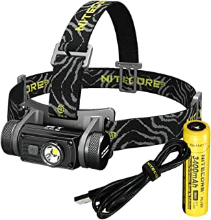 Nitecore HC60 1000 Lumen USB Rechargeable LED Headlamp, 3400 mAh Rechargeable Battery Plus LumenTac Adapters USB Charging Cable