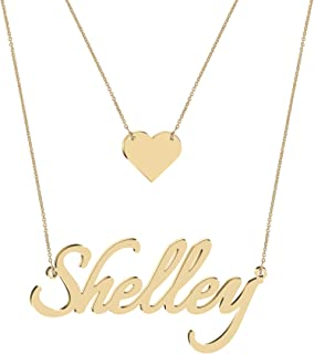 Sponsored Ad - PiscesJD Custom Dainty Layered Gold Name Choker Necklace Personalized Silver Nameplate Handmade Disc Bar He...