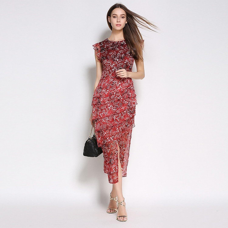 DEED Slim was Thin Frilled Floral Dress Sleeveless Irregular Dress