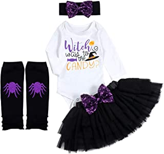 Baby Girl Halloween Costume Tutu Witch Long Sleeve Rompers +Leg Warmers+Headband Halloween Outfits Sets